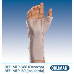 Pulso elástico comprido aberto com tala flexivel palmar e polegar amovível