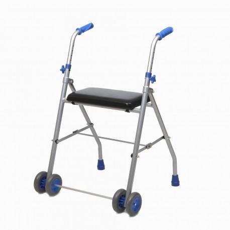 Andarilho de alumínio com assento e 2 rodas